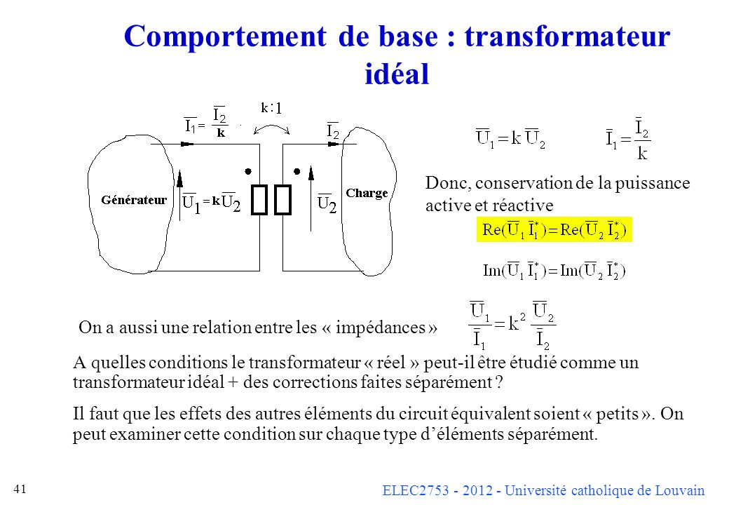 ELEC2753 - 2012 - Université catholique de Louvain 41 Comportement de base : transformateur idéal A quelles conditions le transformateur « réel » peut