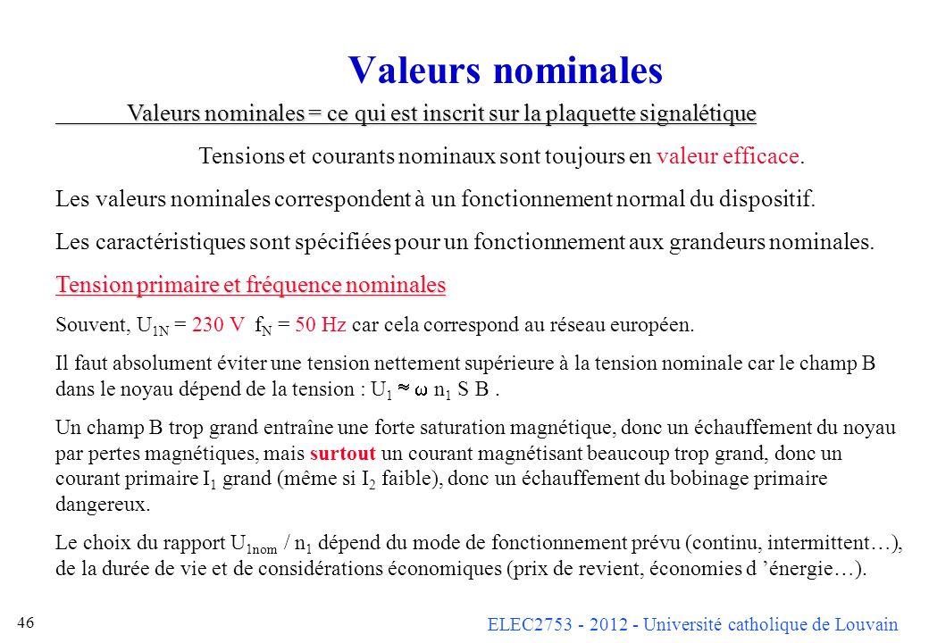 ELEC2753 - 2012 - Université catholique de Louvain 46 Valeurs nominales Valeurs nominales = ce qui est inscrit sur la plaquette signalétique Tensions