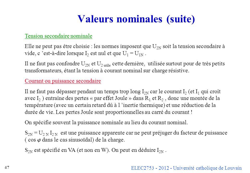 ELEC2753 - 2012 - Université catholique de Louvain 47 Valeurs nominales (suite) Tension secondaire nominale Elle ne peut pas être choisie : les normes