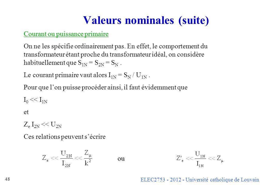 ELEC2753 - 2012 - Université catholique de Louvain 48 Valeurs nominales (suite) Courant ou puissance primaire On ne les spécifie ordinairement pas. En