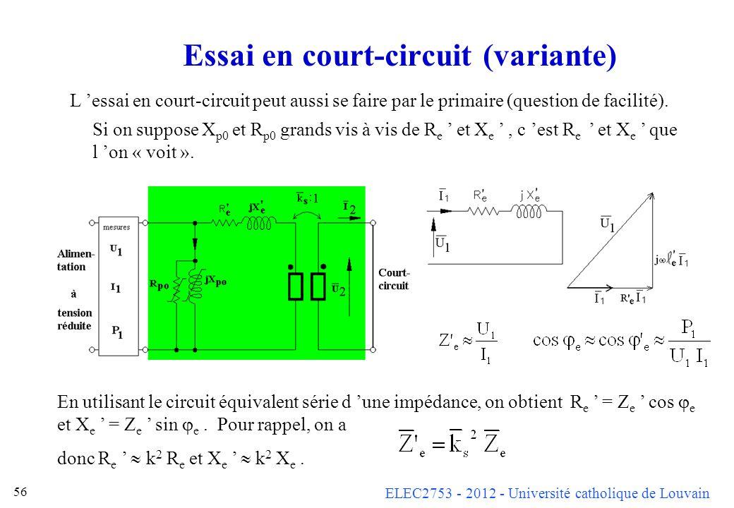 ELEC2753 - 2012 - Université catholique de Louvain 56 Essai en court-circuit (variante) L essai en court-circuit peut aussi se faire par le primaire (