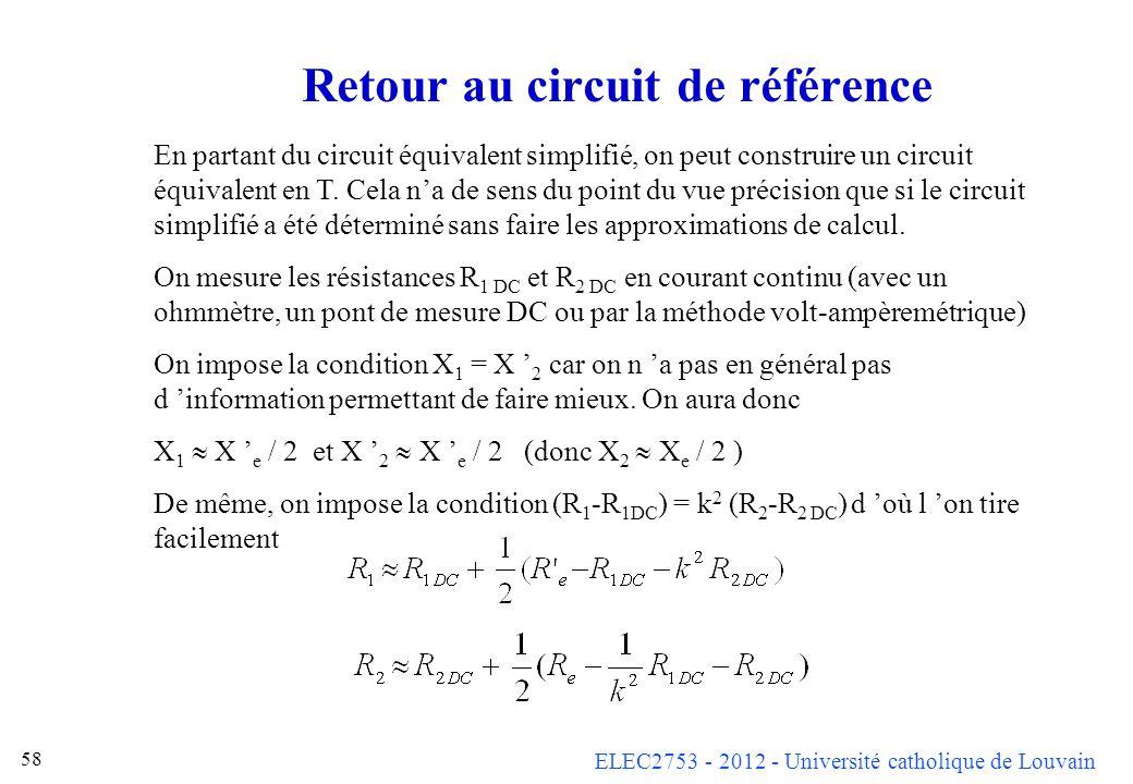 ELEC2753 - 2012 - Université catholique de Louvain 58 Retour au circuit de référence En partant du circuit équivalent simplifié, on peut construire un