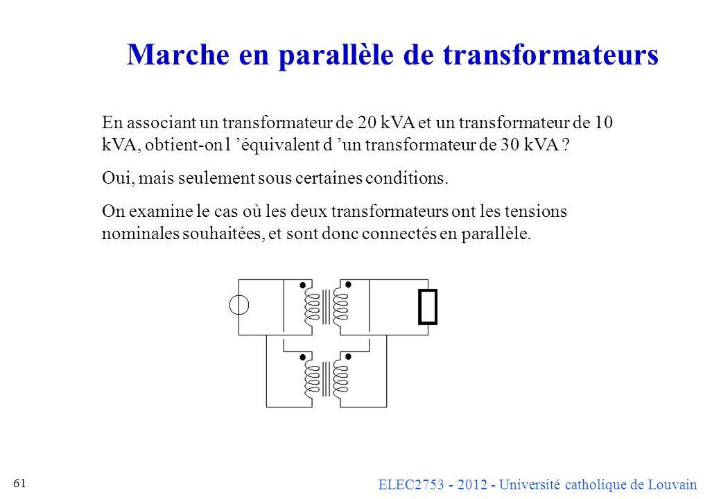 ELEC2753 - 2012 - Université catholique de Louvain 61 Marche en parallèle de transformateurs En associant un transformateur de 20 kVA et un transforma