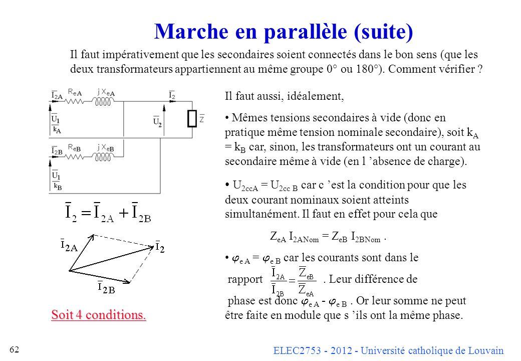 ELEC2753 - 2012 - Université catholique de Louvain 62 Marche en parallèle (suite) Il faut aussi, idéalement, Mêmes tensions secondaires à vide (donc e
