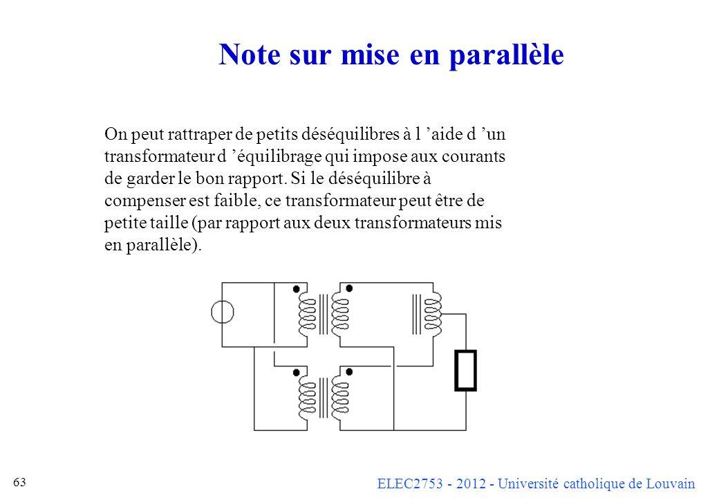 ELEC2753 - 2012 - Université catholique de Louvain 63 Note sur mise en parallèle On peut rattraper de petits déséquilibres à l aide d un transformateu