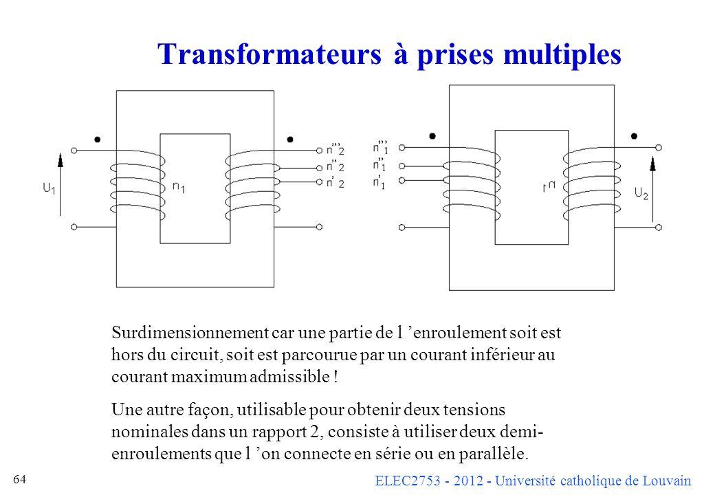 ELEC2753 - 2012 - Université catholique de Louvain 64 Transformateurs à prises multiples Surdimensionnement car une partie de l enroulement soit est h