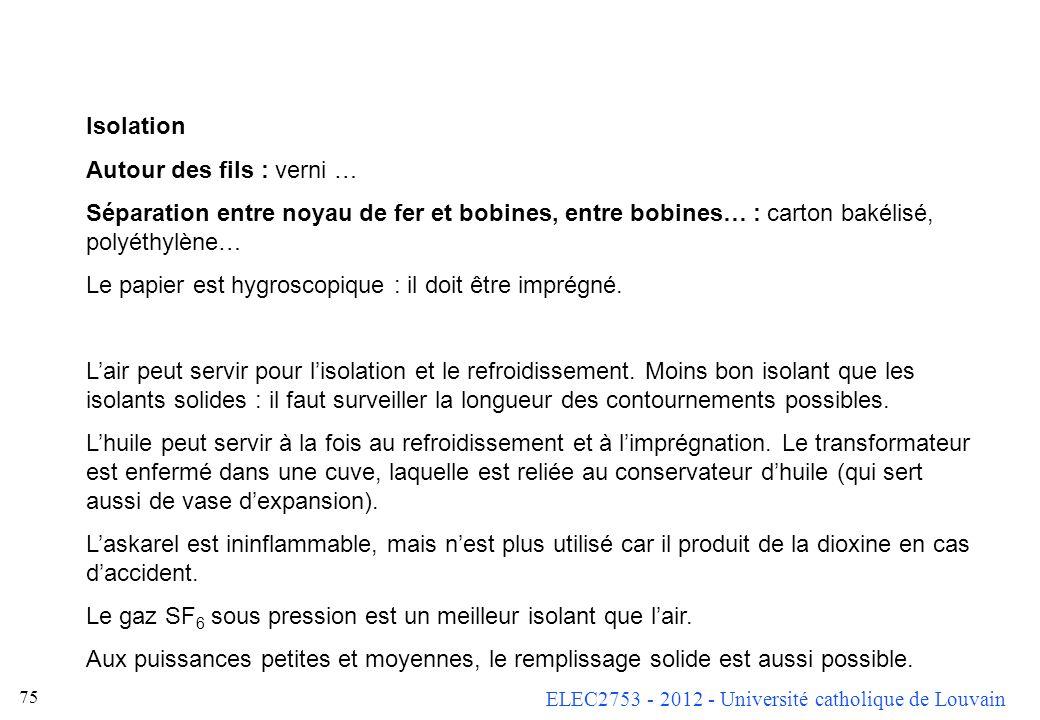 ELEC2753 - 2012 - Université catholique de Louvain 75 Isolation Autour des fils : verni … Séparation entre noyau de fer et bobines, entre bobines… : c