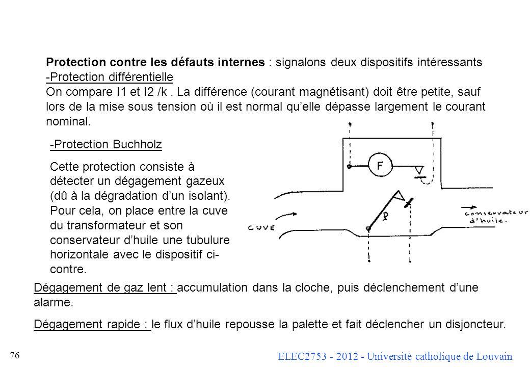 ELEC2753 - 2012 - Université catholique de Louvain 76 Protection contre les défauts internes : signalons deux dispositifs intéressants -Protection dif