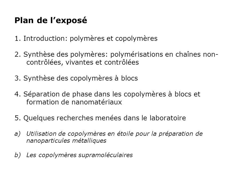 Plan de lexposé 1. Introduction: polymères et copolymères 2. Synthèse des polymères: polymérisations en chaînes non- contrôlées, vivantes et contrôlée