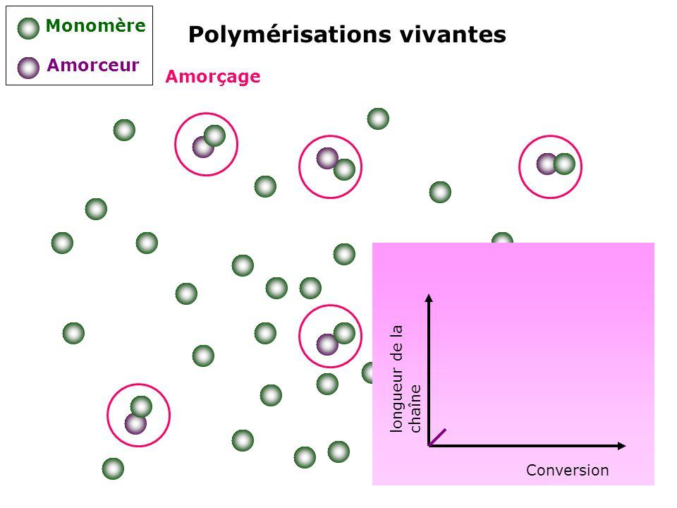 Polymérisations vivantes Monomère Amorceur Amorçage longueur de la chaîne Conversion