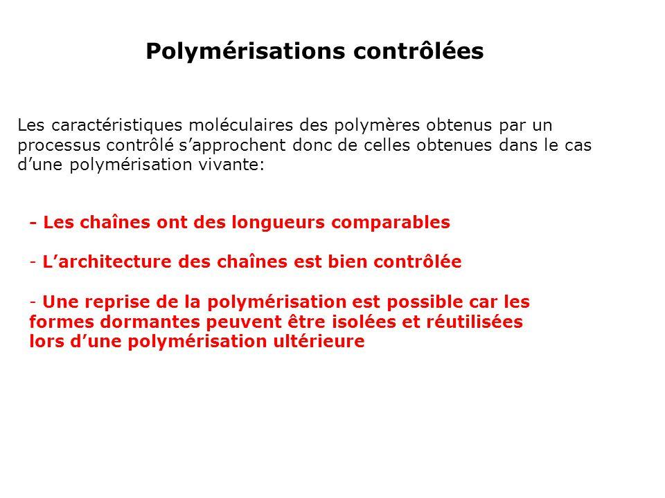- Les chaînes ont des longueurs comparables - Larchitecture des chaînes est bien contrôlée - Une reprise de la polymérisation est possible car les for