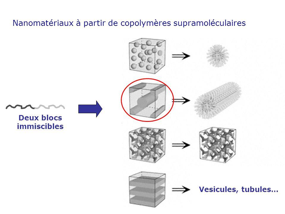 Vesicules, tubules… Deux blocs immiscibles Nanomatériaux à partir de copolymères supramoléculaires