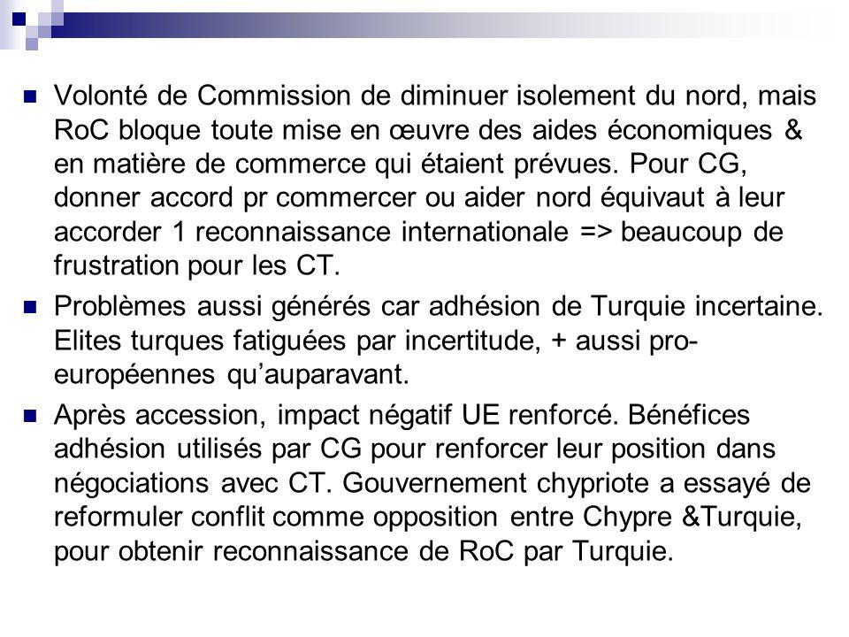 Volonté de Commission de diminuer isolement du nord, mais RoC bloque toute mise en œuvre des aides économiques & en matière de commerce qui étaient prévues.