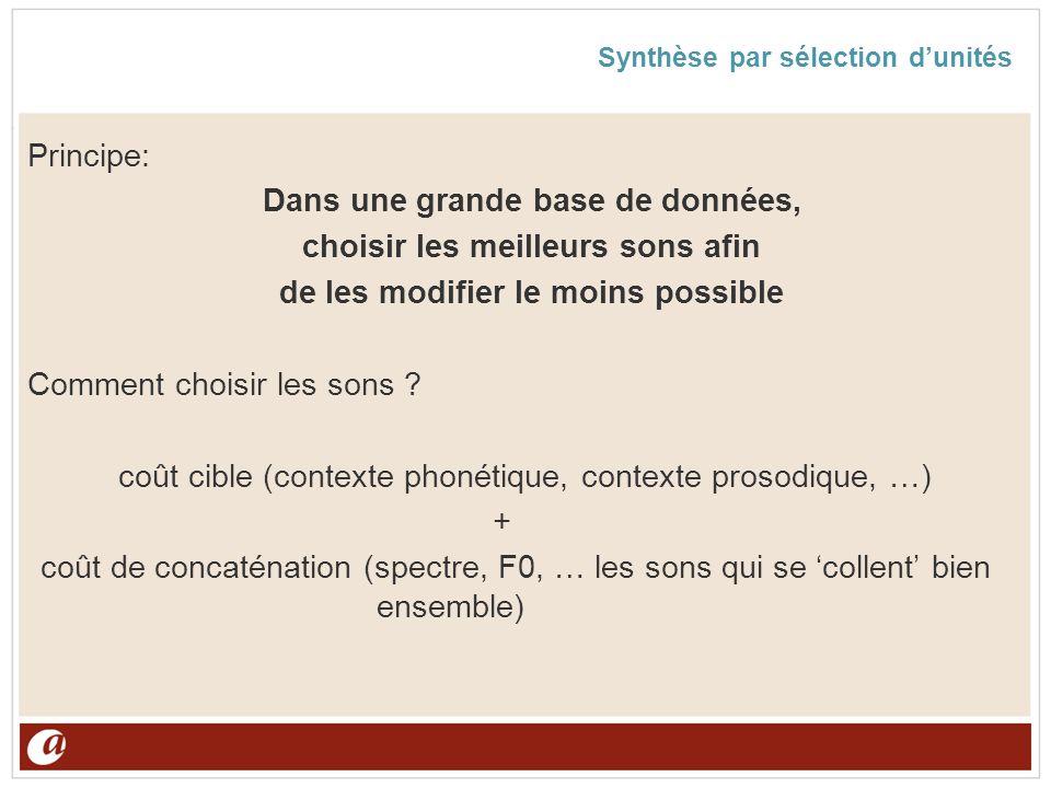 Synthèse par sélection dunités Principe: Dans une grande base de données, choisir les meilleurs sons afin de les modifier le moins possible Comment ch