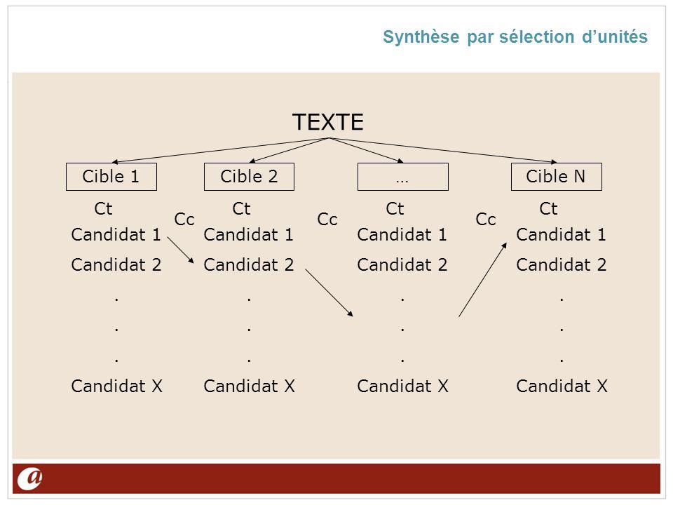 Synthèse par sélection dunités Cible 1Cible 2…Cible N TEXTE Candidat 1 Candidat 2. Candidat X Candidat 1 Candidat 2. Candidat X Candidat 1 Candidat 2.