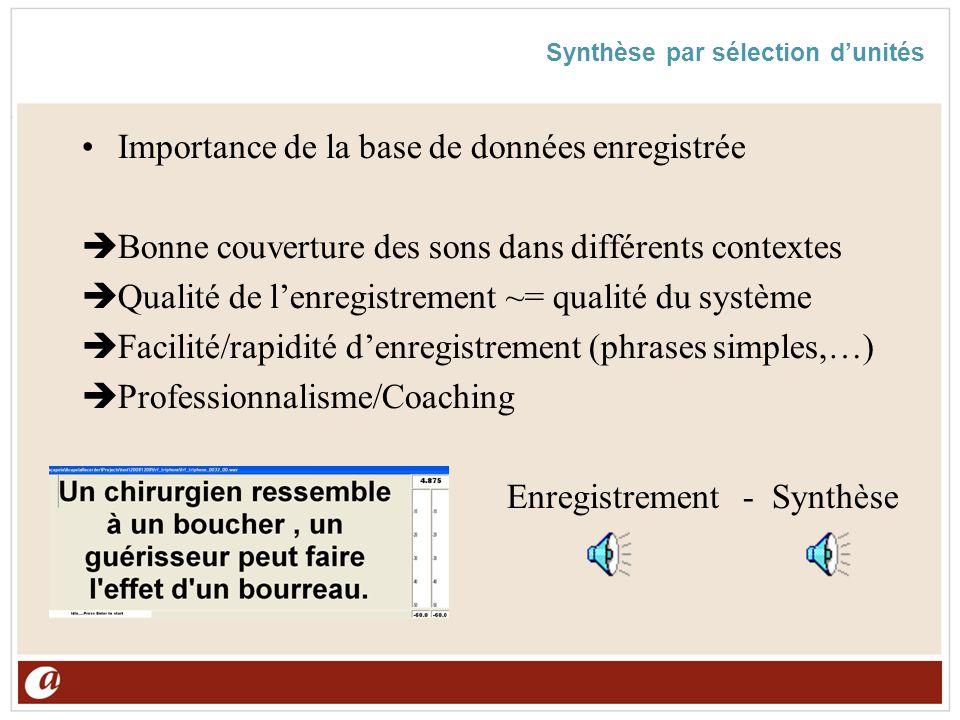 Synthèse par sélection dunités Importance de la base de données enregistrée Bonne couverture des sons dans différents contextes Qualité de lenregistre