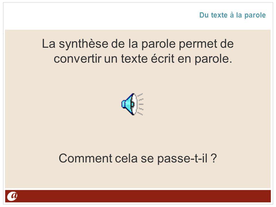 Du texte à la parole La synthèse de la parole permet de convertir un texte écrit en parole. Comment cela se passe-t-il ?