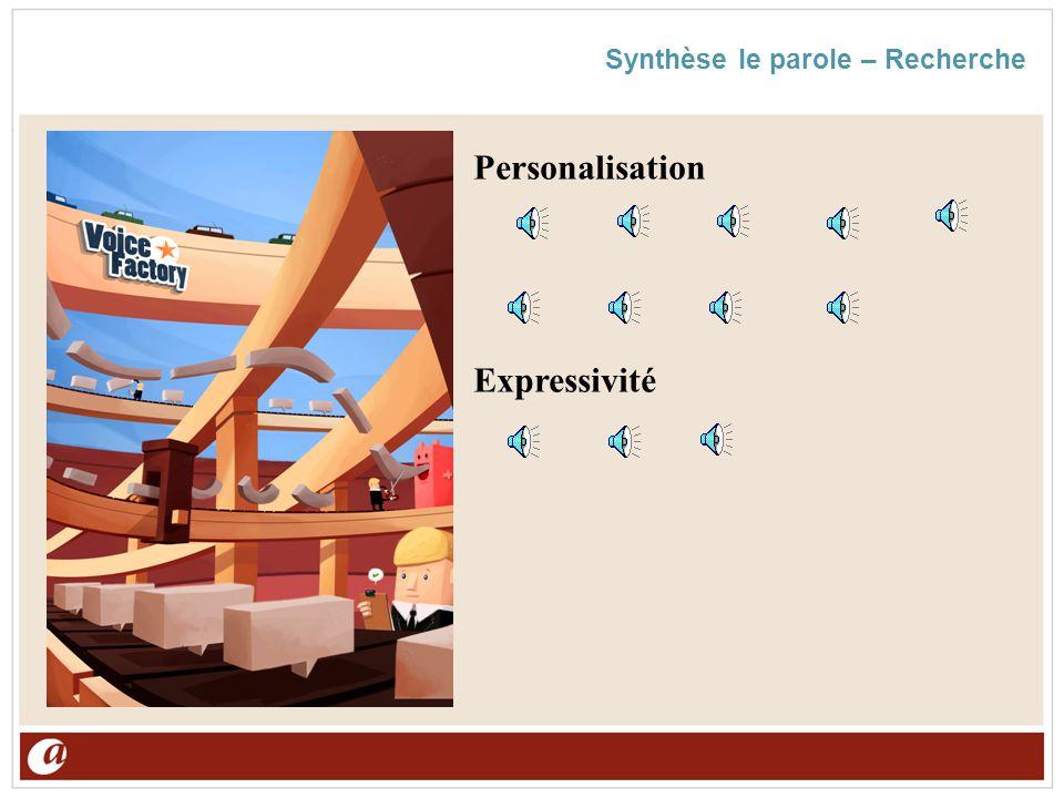 Synthèse le parole – Recherche Personalisation Expressivité