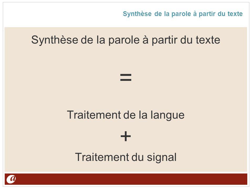 Synthèse de la parole à partir du texte = Traitement de la langue + Traitement du signal