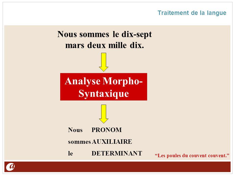 Traitement de la langue Analyse Morpho- Syntaxique Nous sommes le dix-sept mars deux mille dix. Les poules du couvent couvent. NousPRONOM sommes AUXIL