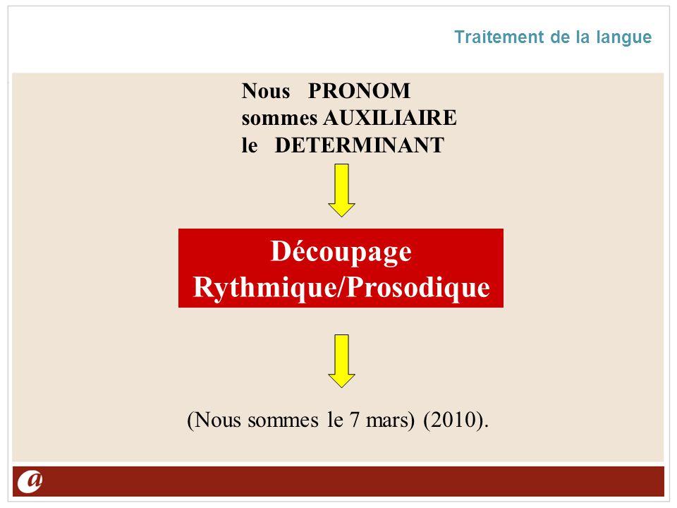 Traitement de la langue Découpage Rythmique/Prosodique (Nous sommes le 7 mars) (2010). NousPRONOM sommes AUXILIAIRE leDETERMINANT