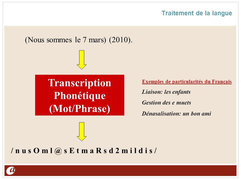 Traitement de la langue Transcription Phonétique (Mot/Phrase) (Nous sommes le 7 mars) (2010). / n u s O m l @ s E t m a R s d 2 m i l d i s / Exemples