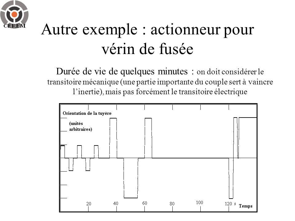 Autre exemple : actionneur pour vérin de fusée Durée de vie de quelques minutes : on doit considérer le transitoire mécanique (une partie importante d