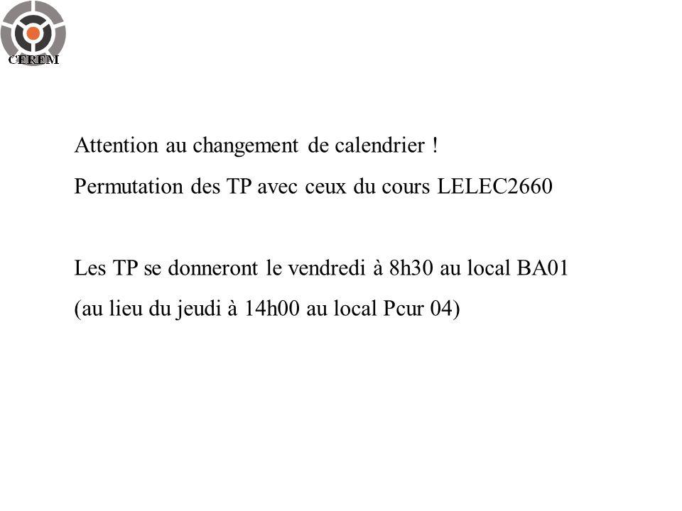 Attention au changement de calendrier ! Permutation des TP avec ceux du cours LELEC2660 Les TP se donneront le vendredi à 8h30 au local BA01 (au lieu