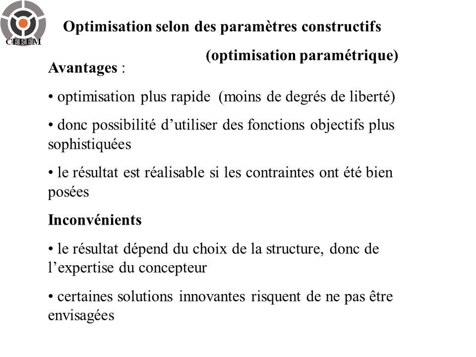 Optimisation selon des paramètres constructifs (optimisation paramétrique) Avantages : optimisation plus rapide (moins de degrés de liberté) donc poss