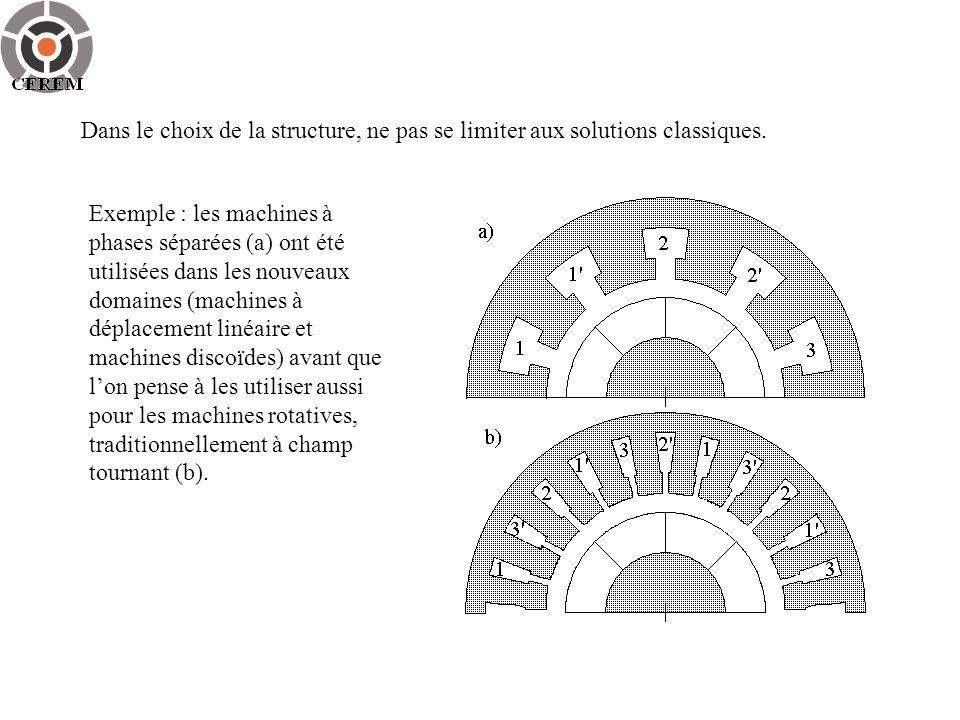 Dans le choix de la structure, ne pas se limiter aux solutions classiques. Exemple : les machines à phases séparées (a) ont été utilisées dans les nou