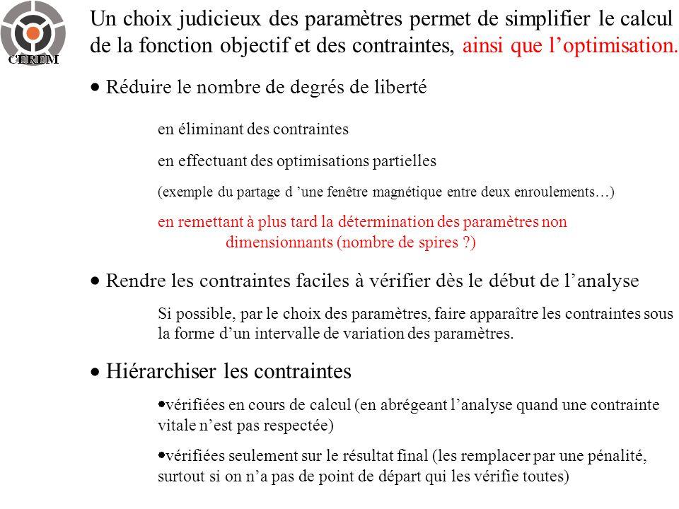 Un choix judicieux des paramètres permet de simplifier le calcul de la fonction objectif et des contraintes, ainsi que loptimisation. Réduire le nombr