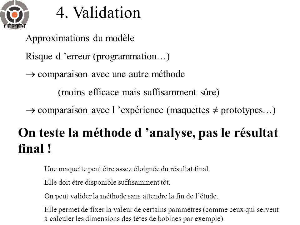 4. Validation Approximations du modèle Risque d erreur (programmation…) comparaison avec une autre méthode (moins efficace mais suffisamment sûre) com
