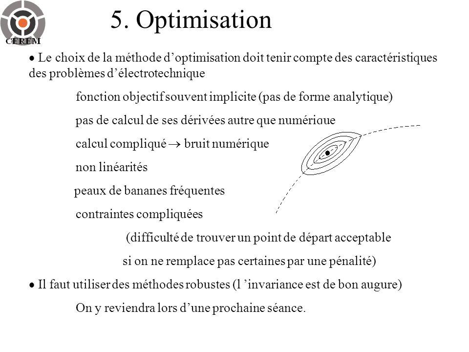5. Optimisation Le choix de la méthode doptimisation doit tenir compte des caractéristiques des problèmes délectrotechnique fonction objectif souvent