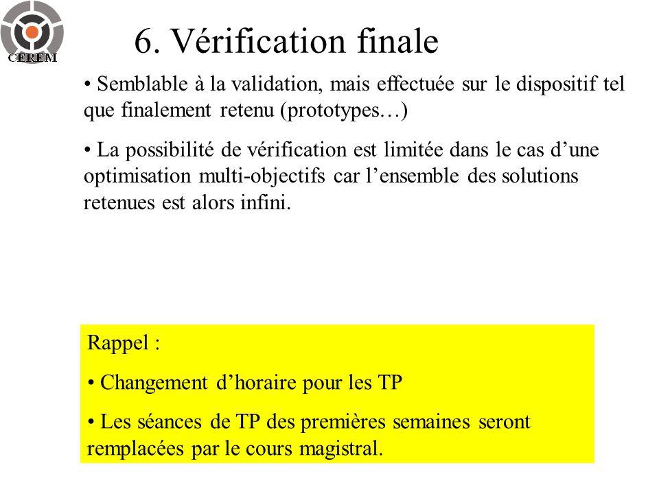 6. Vérification finale Semblable à la validation, mais effectuée sur le dispositif tel que finalement retenu (prototypes…) La possibilité de vérificat