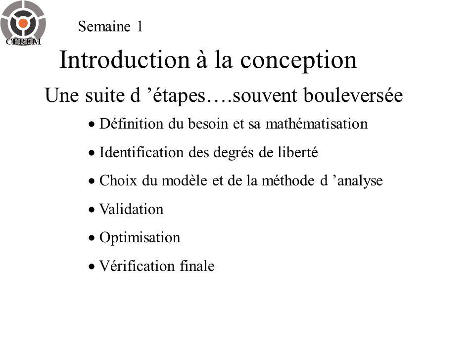 Semaine 1 Introduction à la conception Une suite d étapes….souvent bouleversée Définition du besoin et sa mathématisation Identification des degrés de
