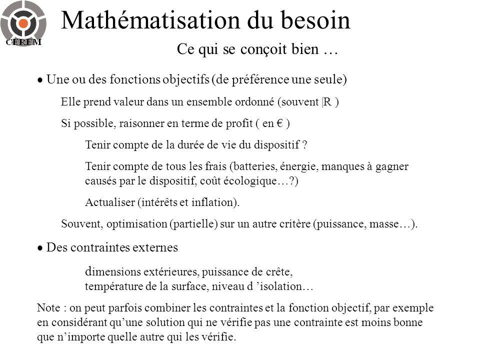 Mathématisation du besoin Ce qui se conçoit bien … Une ou des fonctions objectifs (de préférence une seule) Elle prend valeur dans un ensemble ordonné