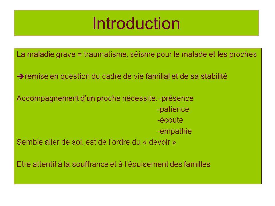Introduction La maladie grave = traumatisme, séisme pour le malade et les proches remise en question du cadre de vie familial et de sa stabilité Accom