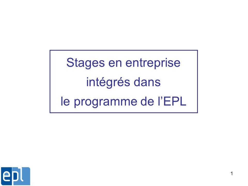 1 Stages en entreprise intégrés dans le programme de lEPL