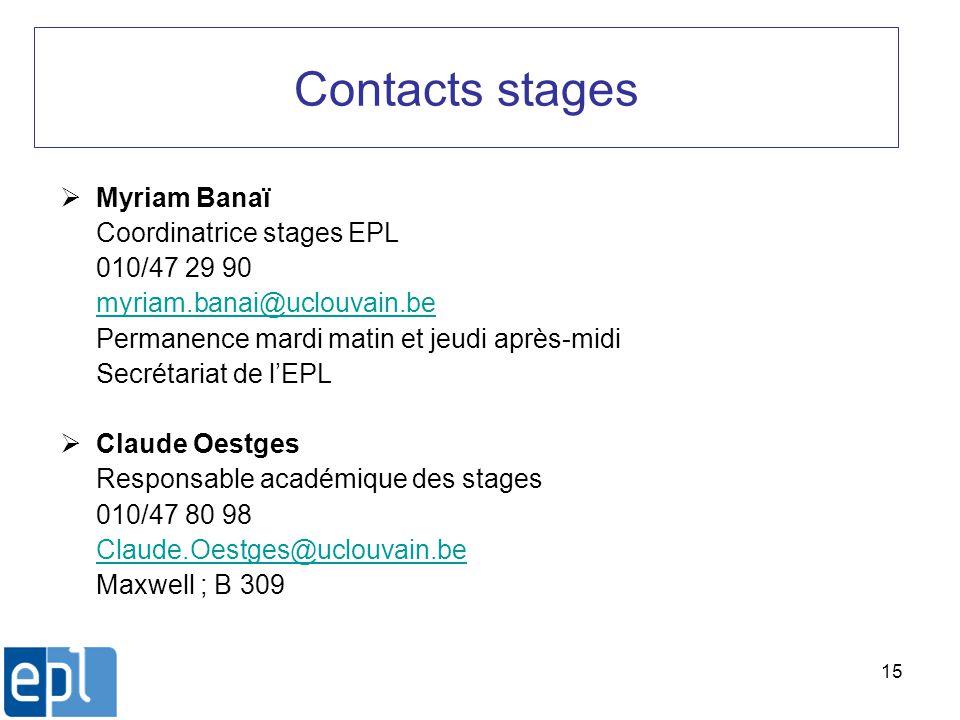 15 Contacts stages Myriam Banaï Coordinatrice stages EPL 010/47 29 90 myriam.banai@uclouvain.be Permanence mardi matin et jeudi après-midi Secrétariat