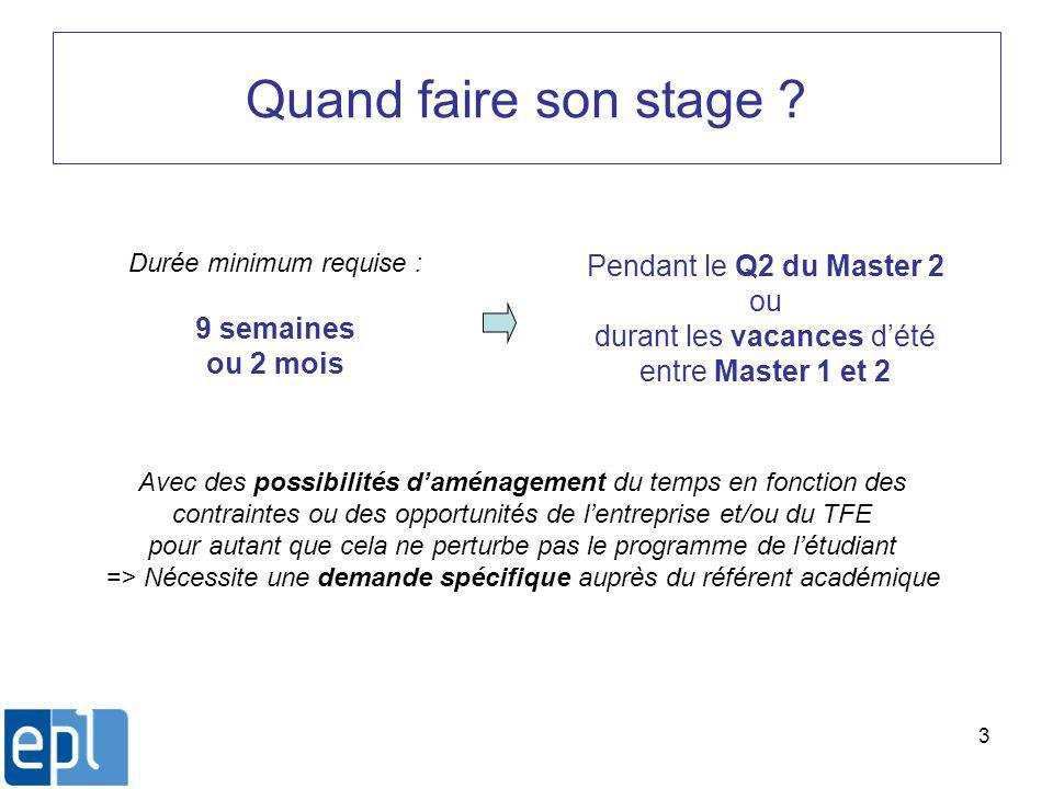 3 Quand faire son stage ? Durée minimum requise : 9 semaines ou 2 mois Pendant le Q2 du Master 2 ou durant les vacances dété entre Master 1 et 2 Avec