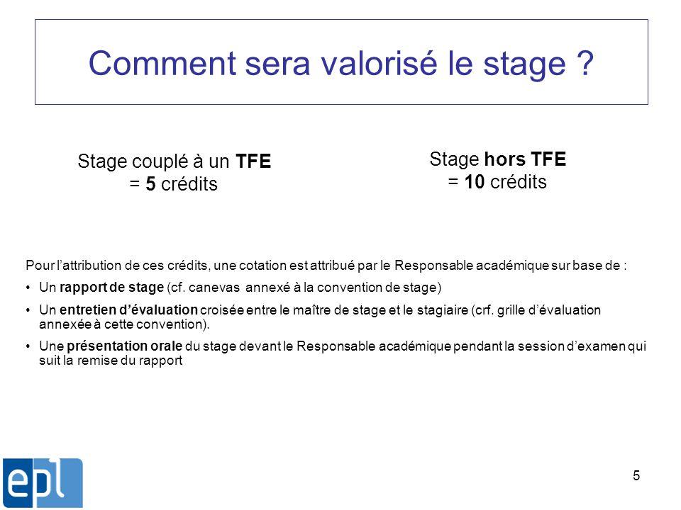 5 Comment sera valorisé le stage ? Stage couplé à un TFE = 5 crédits Stage hors TFE = 10 crédits Pour lattribution de ces crédits, une cotation est at