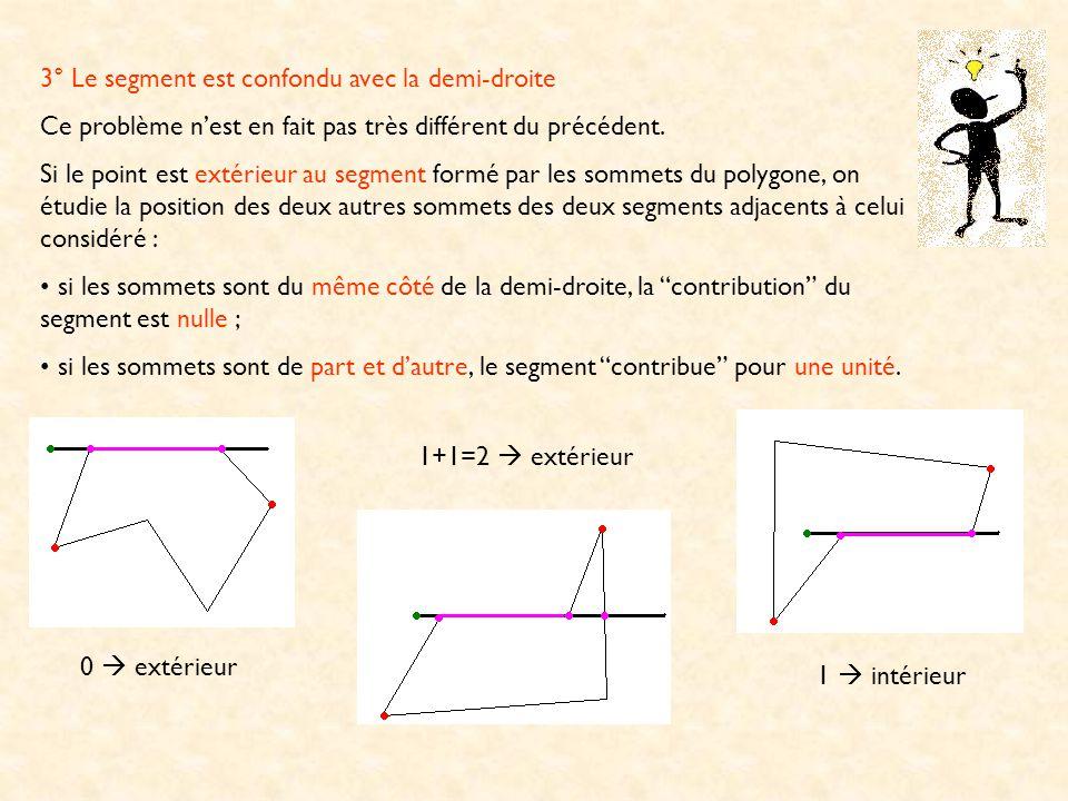3° Le segment est confondu avec la demi-droite Ce problème nest en fait pas très différent du précédent. Si le point est extérieur au segment formé pa