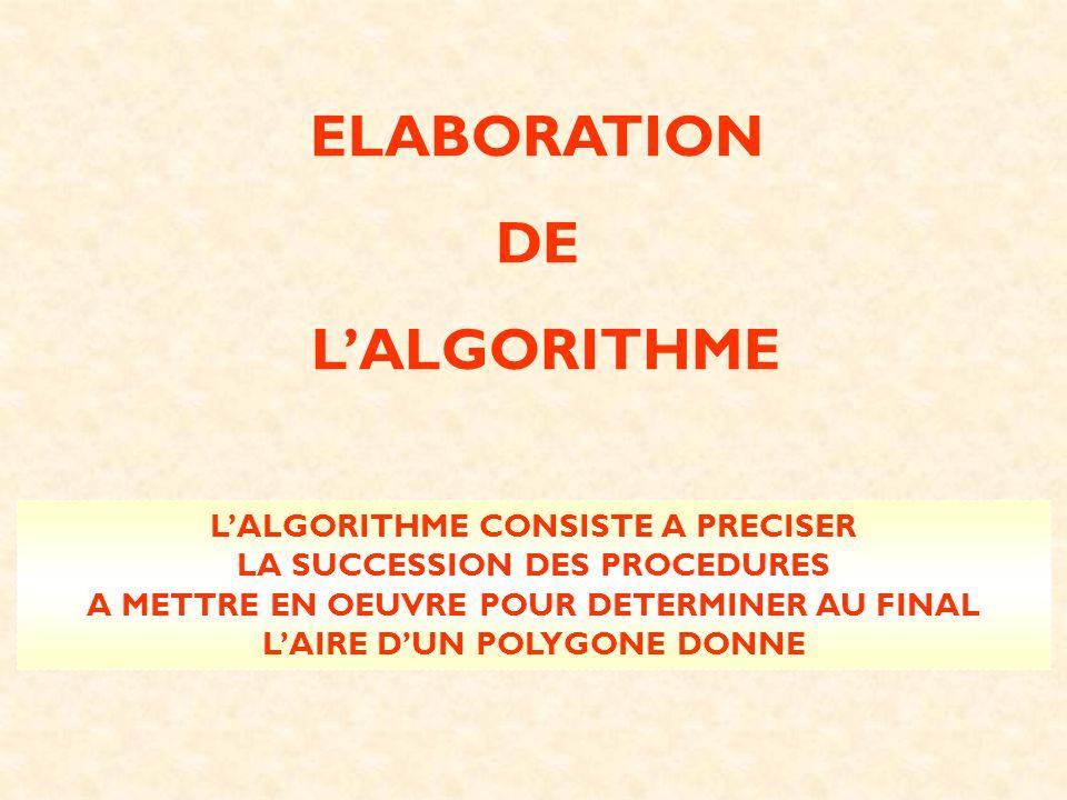 ELABORATION DE LALGORITHME LALGORITHME CONSISTE A PRECISER LA SUCCESSION DES PROCEDURES A METTRE EN OEUVRE POUR DETERMINER AU FINAL LAIRE DUN POLYGONE
