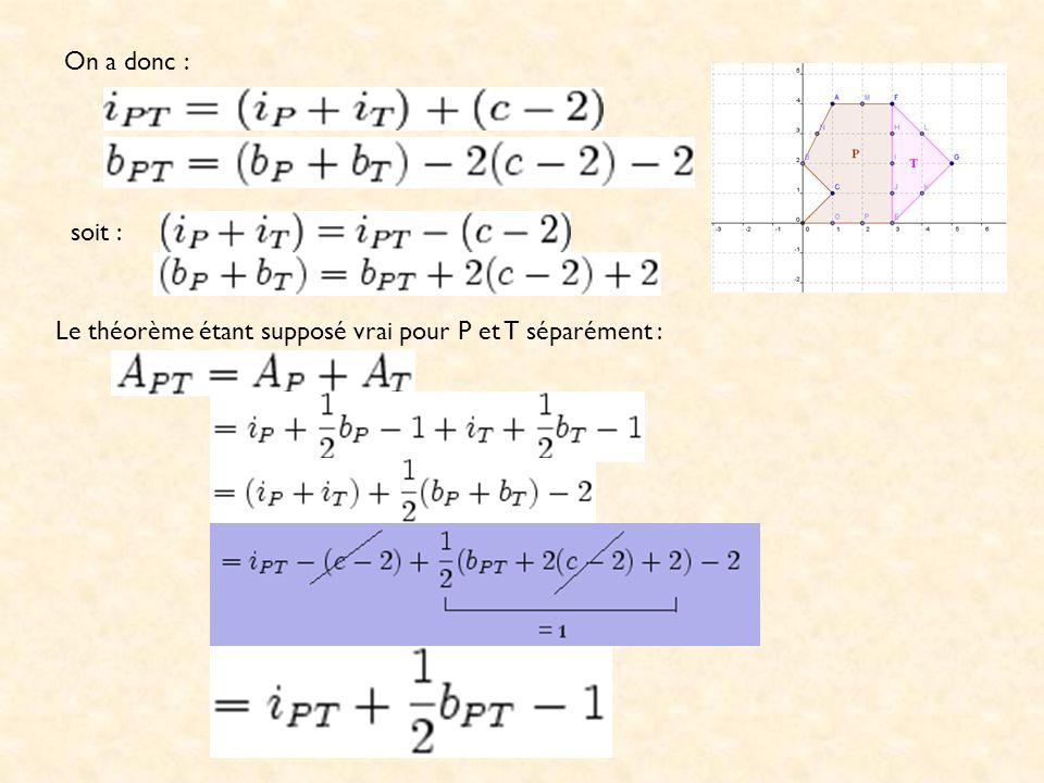 Par conséquent, si le théorème est vrai pour les polygones construits à partir de n triangles, le théorème est aussi vrai pour les polygones construits à partir de n + 1 triangles.