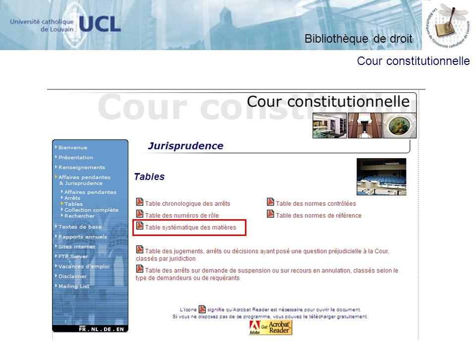 ATTENTION : recherche par défaut uniquement sur les arrêts et en français Bibliothèque de droit