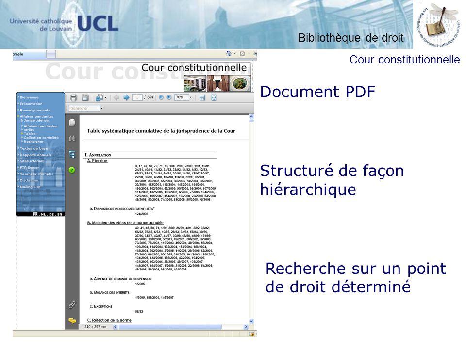 Document PDF Structuré de façon hiérarchique Recherche sur un point de droit déterminé Cour constitutionnelle Bibliothèque de droit