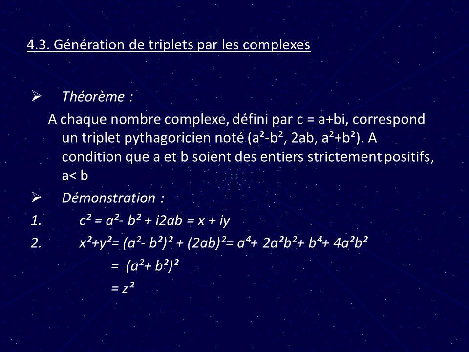 4.3. Génération de triplets par les complexes Théorème : A chaque nombre complexe, défini par c = a+bi, correspond un triplet pythagoricien noté (a²-b