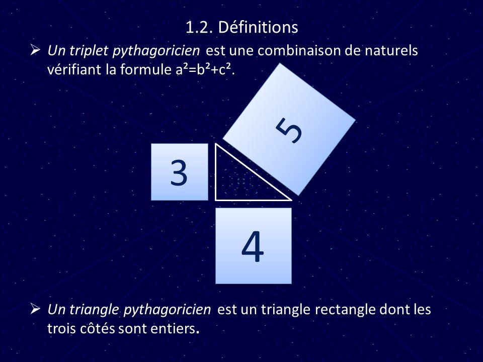 1.2. Définitions Un triplet pythagoricien est une combinaison de naturels vérifiant la formule a²=b²+c². Un triangle pythagoricien est un triangle rec
