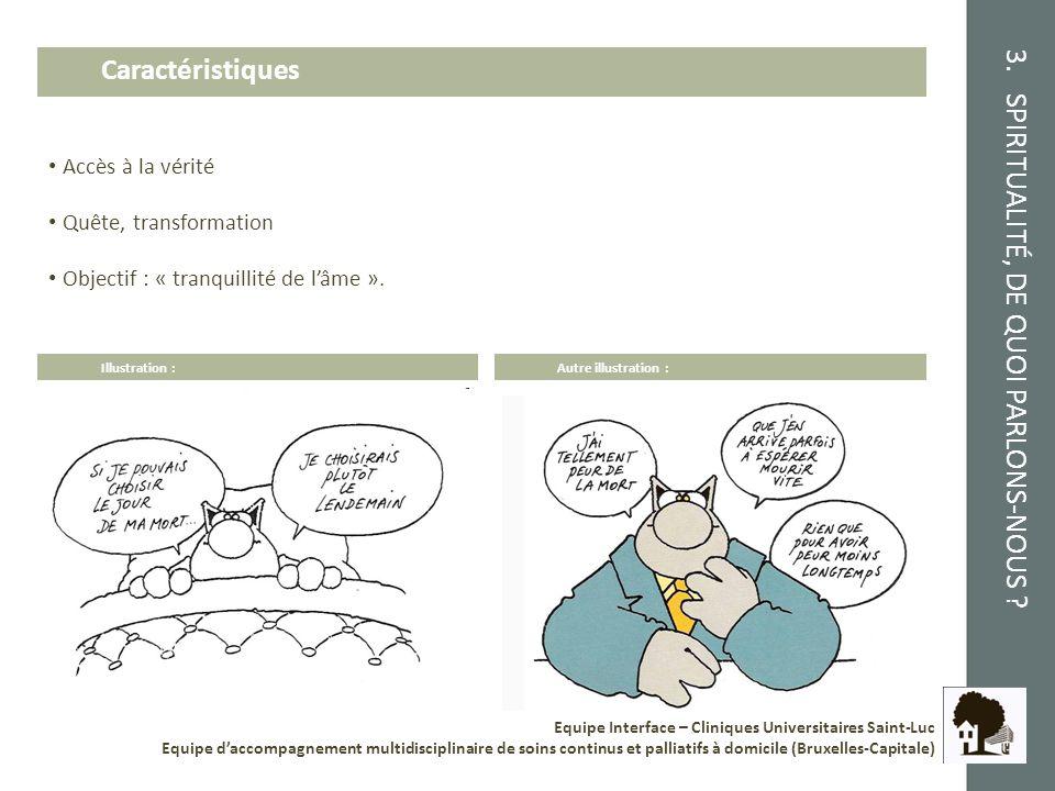 3. SPIRITUALITÉ, DE QUOI PARLONS-NOUS ? Equipe Interface – Cliniques Universitaires Saint-Luc Equipe daccompagnement multidisciplinaire de soins conti