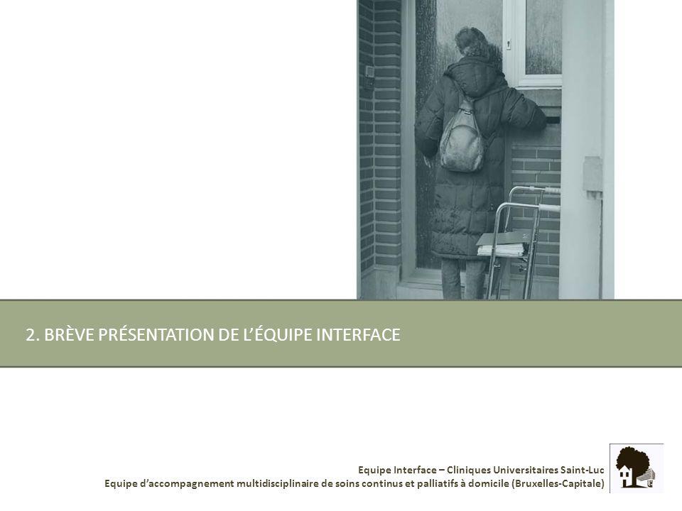 Equipe Interface – Cliniques Universitaires Saint-Luc Equipe daccompagnement multidisciplinaire de soins continus et palliatifs à domicile (Bruxelles-Capitale) 5.